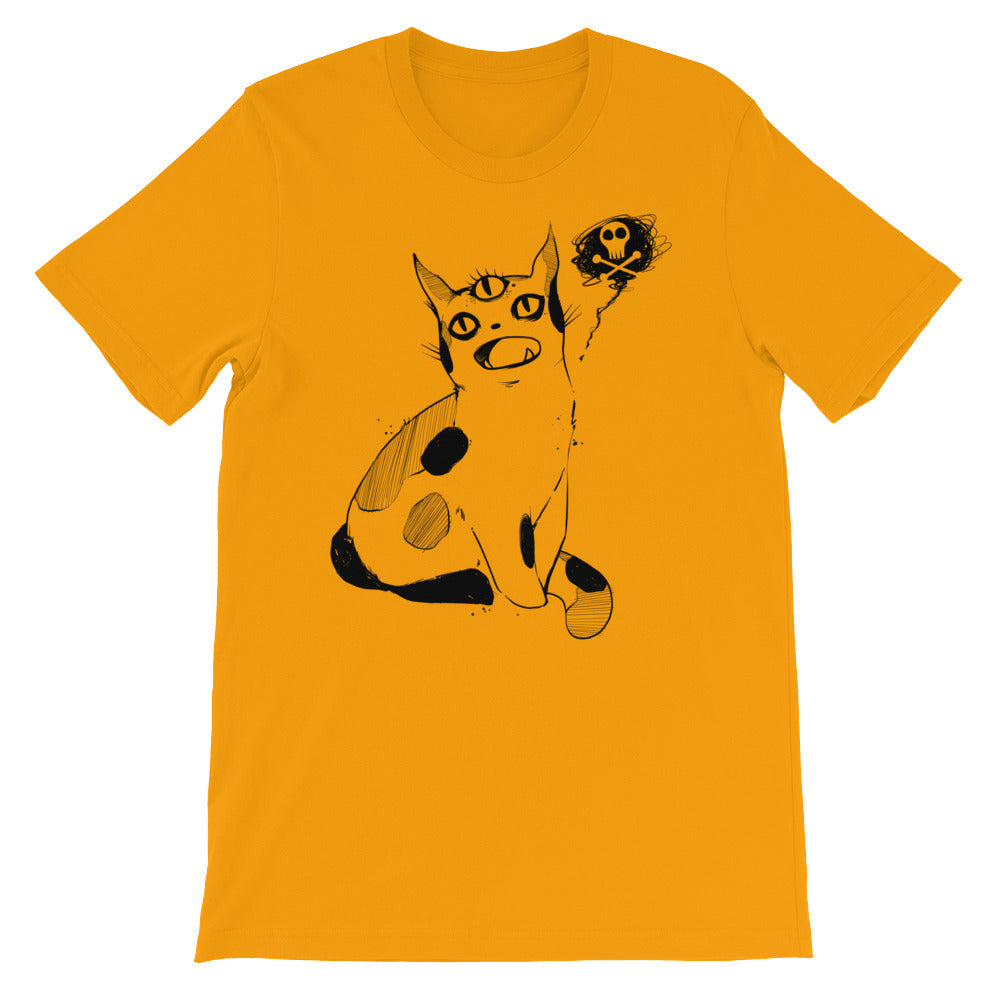 yellow tshirt with a strange cat drawing