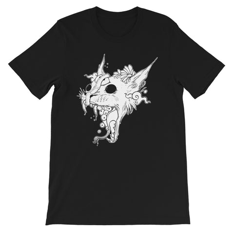 Split-Faced Cat, Unisex T-Shirt, Black