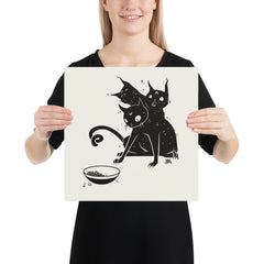 Three Headed Cat, Matte Art Print Poster