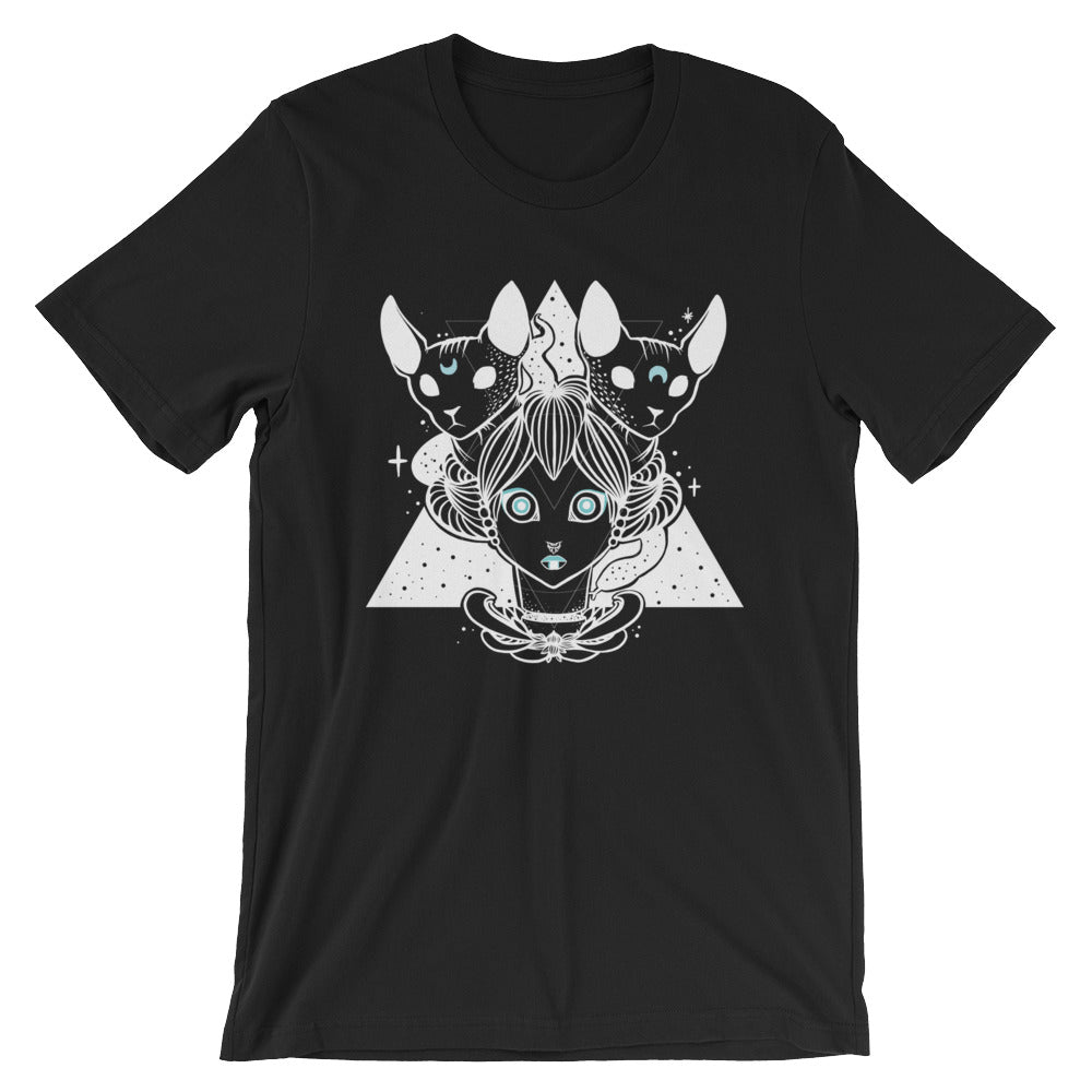 Witch & Sphynx Cats Unisex T-Shirt, Black