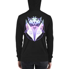 Fox Pentagram, Unisex Lightweight Hoodie, Black