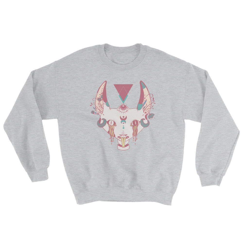 Serpent Tongue Cat Sweatshirt, Gray