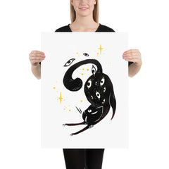 Stretching Black Cat, Matte Art Print Poster