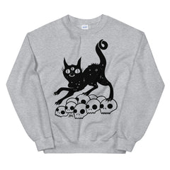 Black Cat On Skulls, Unisex Sweatshirt, Sport Grey