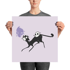 Kuro Cat Purple Matte Art Poster