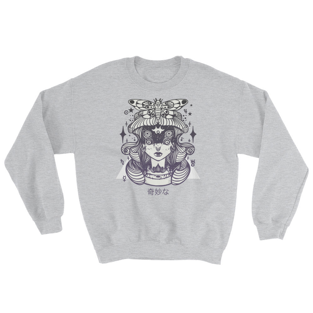 gray sweatshirt with witch and moth