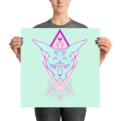 Sphynx Cat Moon Matte Art Print Poster