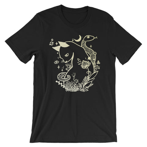Cat And Snake T-Shirt, Unisex Graphic Shirt On Black