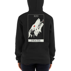 Wolf Death Tarot Card, Unisex Zip Up Hoodie, Black
