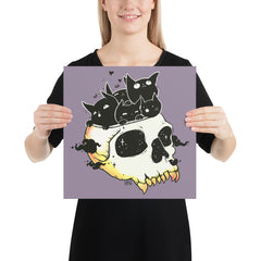 Skull Full Of Cats, Matte Art Print Poster