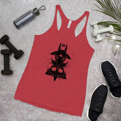 Goat & Skull, Ladies Racerback Tank Top, Vintage Red