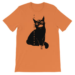 Black Cat, Unisex T-Shirt, Burnt Orange