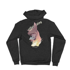 Cat In Cat, Unisex Zip Up Hoodie Sweater, Black Or Dark Heather Grey