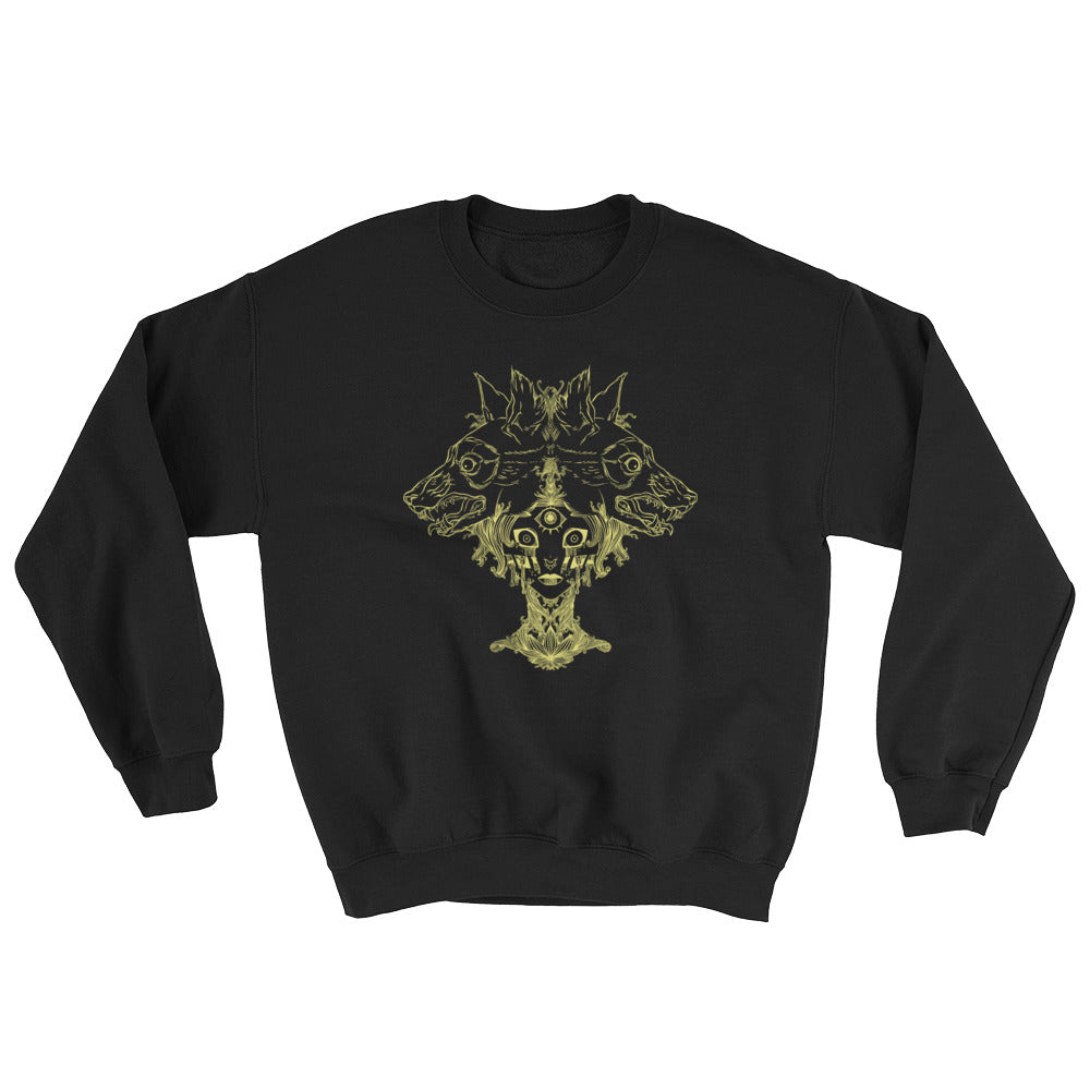 Voodoo Priestess And Wolves Black Unisex Sweatshirt