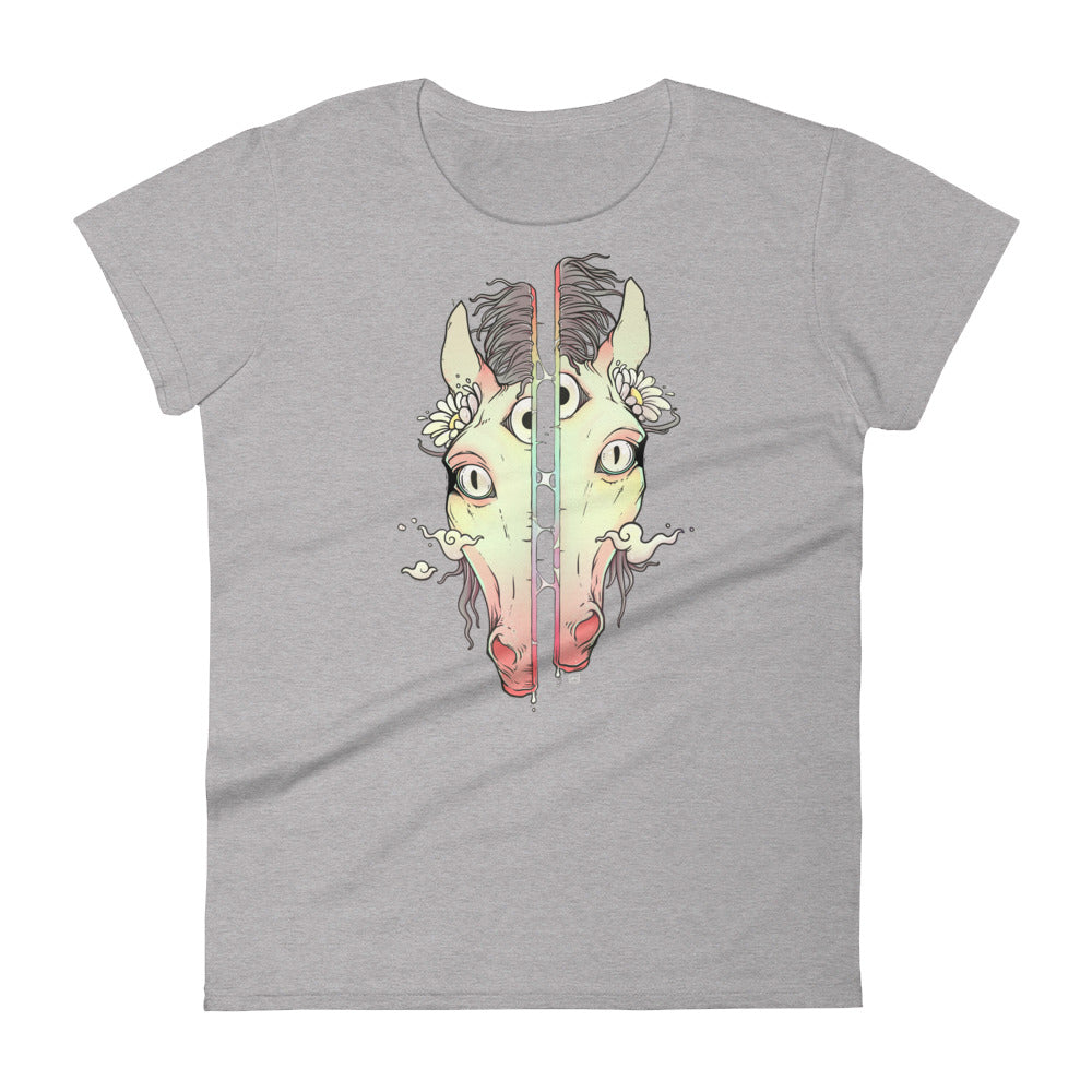 Split Face Horse, Ladies T-Shirt, Heather Grey