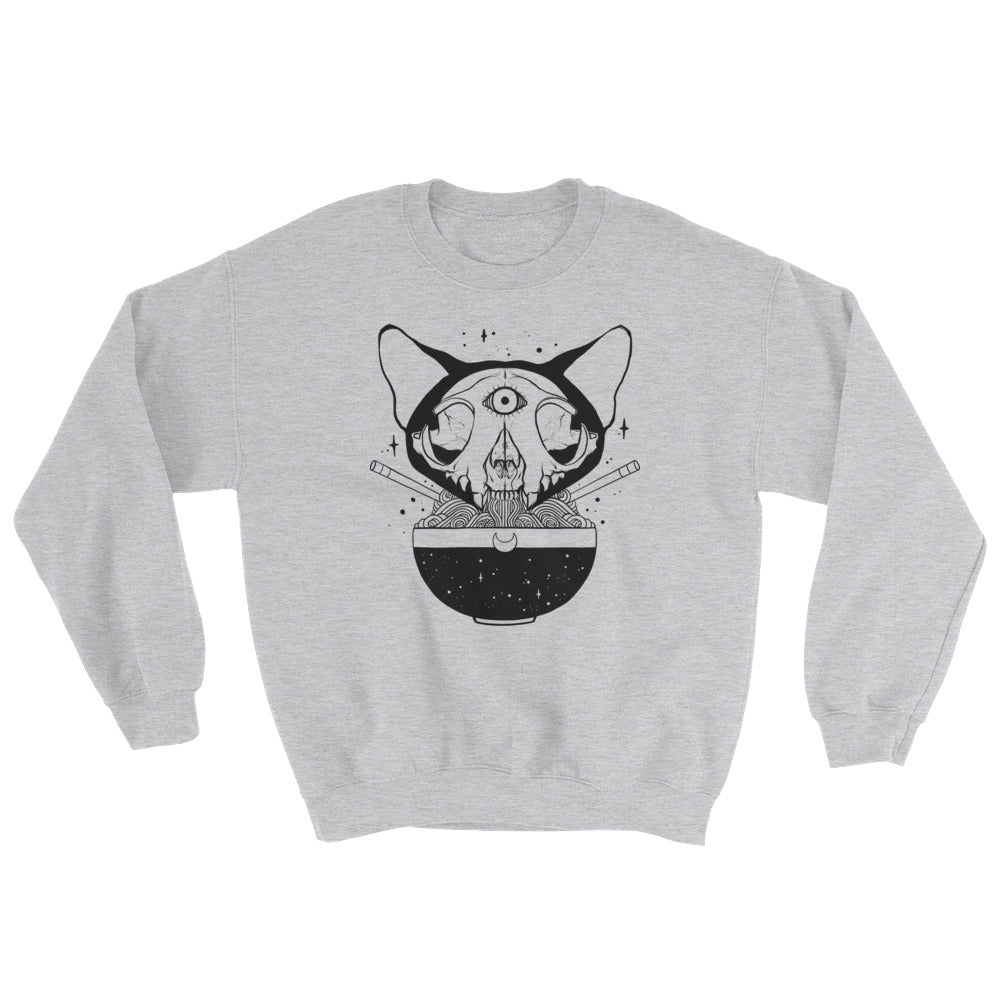 Cat Skull Ramen Noodles Sweatshirt, Gray