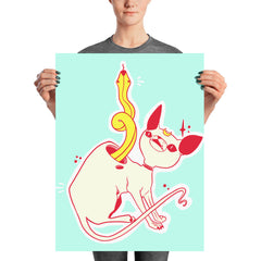 Cat And Snake Matte Art Print Poster