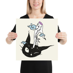 Witch Hand And Cat, Matte Art Print Poster
