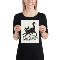 Cat On Skulls, Matte Art Print Poster