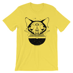 Cat Skull Ramen Noodles Yellow Unisex T-Shirt