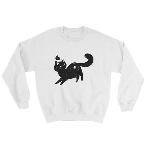 Space Cat, Unisex Sweatshirt, White Or Gray