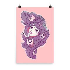 Dreamy Girl Head Art Print Poster