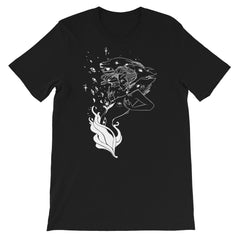 Fire Witch And Wolves Line Art, Unisex T-Shirt, Black