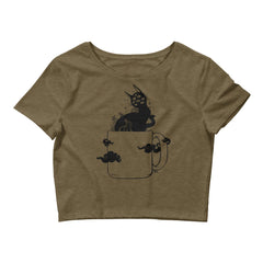 Black Cat, Women's Crop Top, Heather Olive