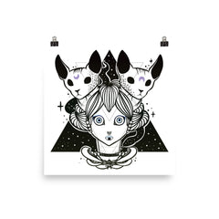 Witch & Sphynx Cats Matte Wall Art Print Poster