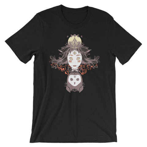 Witch And Owl Unisex T-Shirt, Black