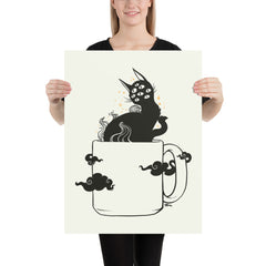Cat In Coffee Mug, Matte Art Print Poster