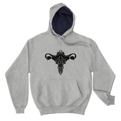 Death Metal Uterus, Champion Hoodie, Gray Light Steel