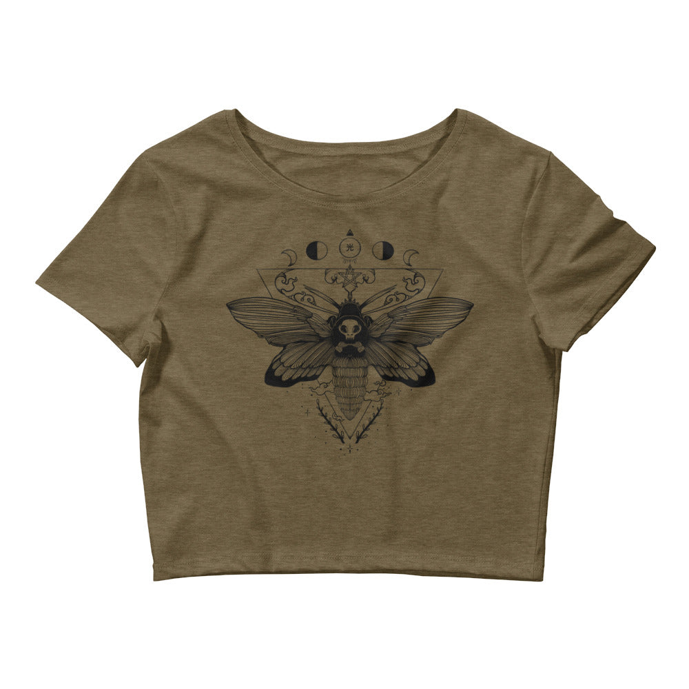 Death Head Moth, Women's Crop Top, Heather Olive