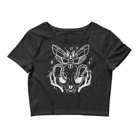 Black Cat Skull Crop Top