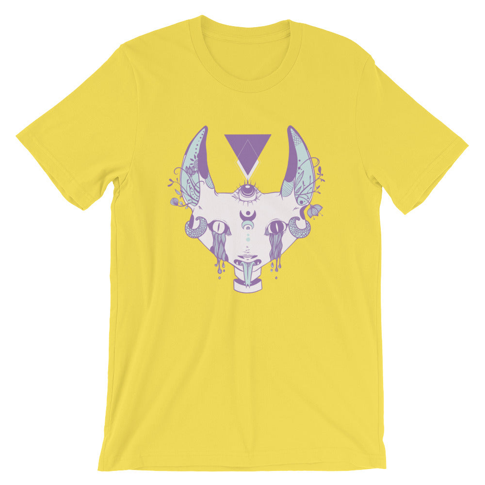 Strange Cat With Third Eye Graphic T-Shirt In Yellow