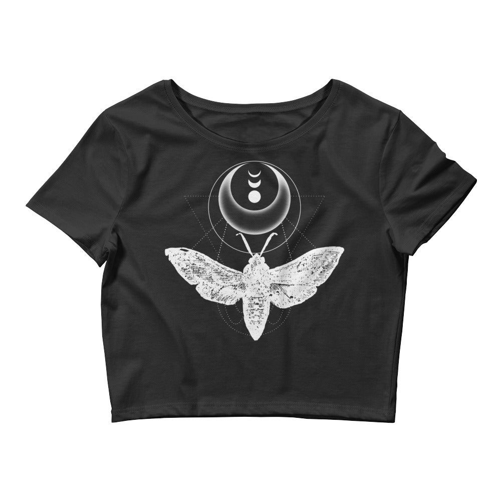 Moth & Crescent Moon Black Crop Top