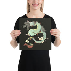 Dragon With Cats, Matte Art Print Poster