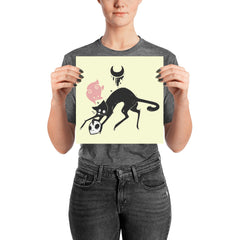 Kuro Cat Matte Art Print Poster, Yellow