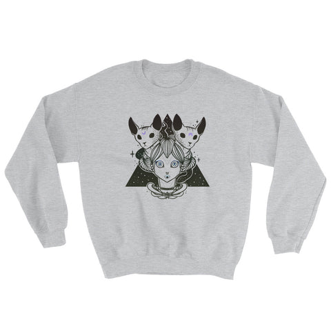 Witch & Sphynx Cats Sweatshirt, Gray