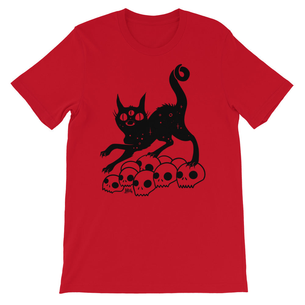 Black Cat On Skulls, Unisex T-Shirt, Red