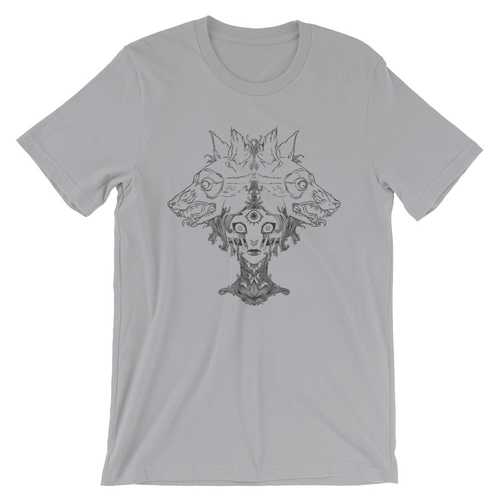 Voodoo Priestess And Wolves Unisex T-Shirt, Gray
