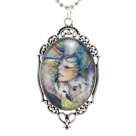 Original Artwork Cameo Necklace, Art Print Jewelry