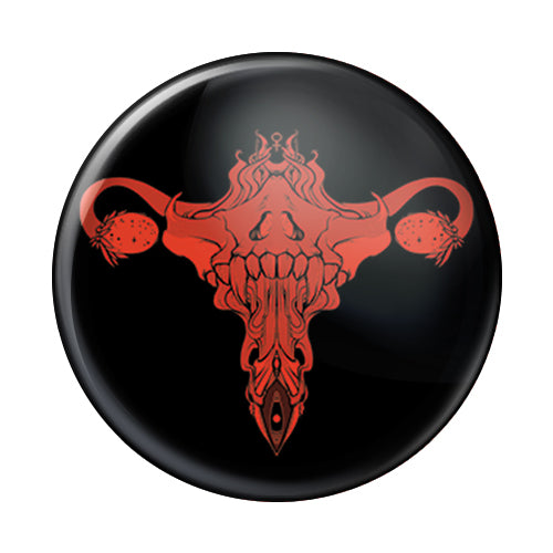 Death Metal Uterus, Red, 1-Inch Pin Button