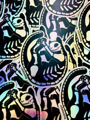 Skeleton Cat, Holographic Sticker