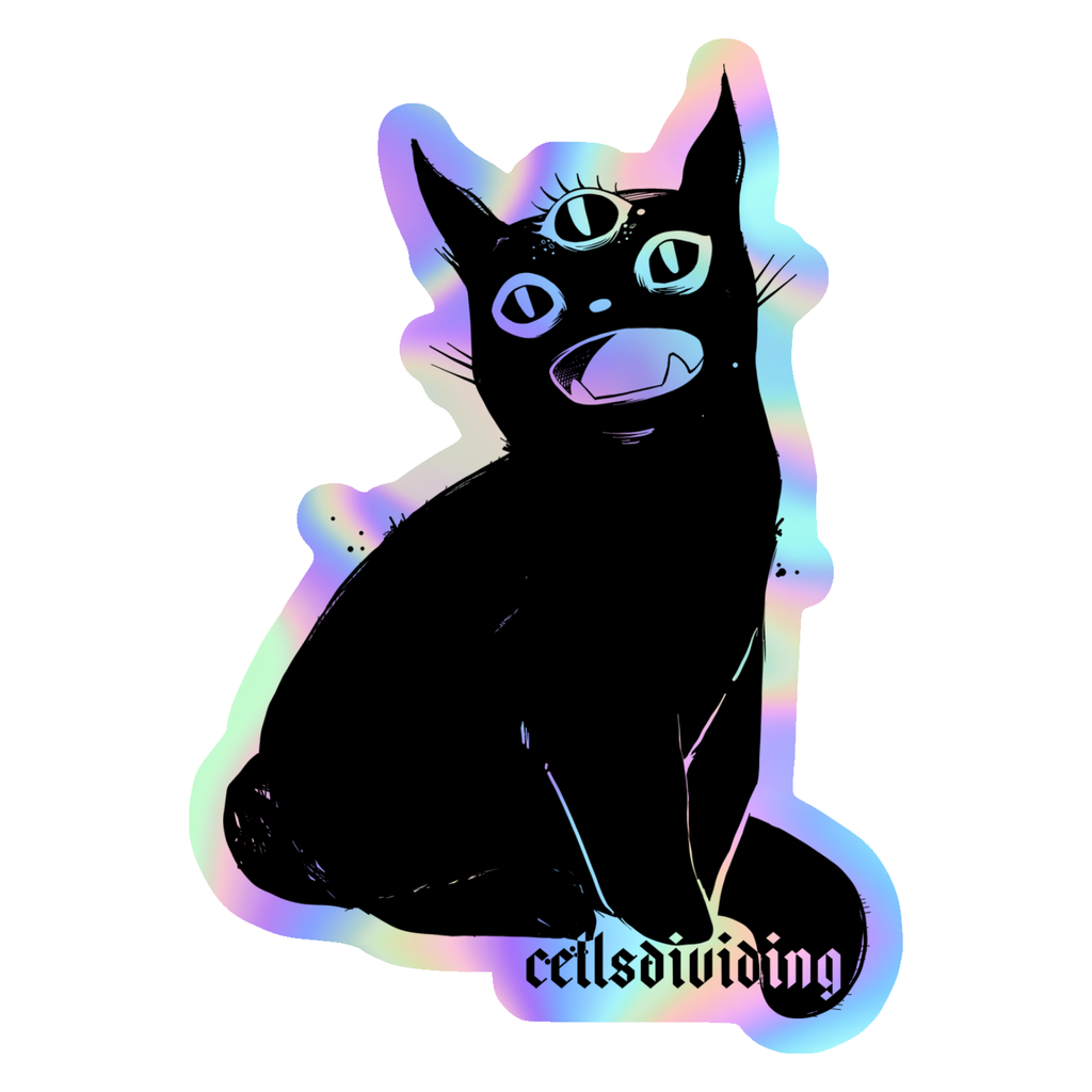 Third Eye Black Cat, Holographic Sticker