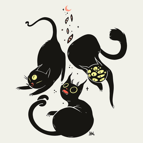 Three Black Cats, Matte Art Print Poster