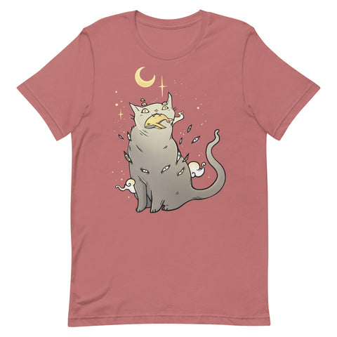 Cat And Whale, Unisex T-Shirt, Mauve