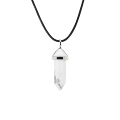 White & Gray Marble Style Howlite Gemstone Pendant Necklace