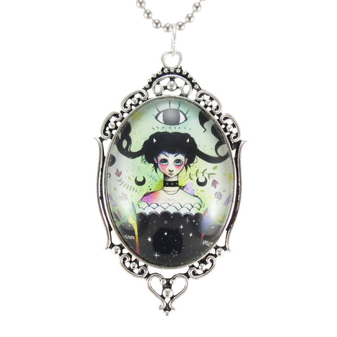 Witch Cameo Necklace, Original Artwork, Art Print Jewelry