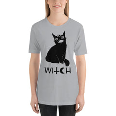 Black Cat Witch Unisex T-Shirt, Silver Gray